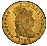 1799 Capped Bust Right Half Eagle. Bass Dannreuther-5. Rarity-5+. Large Reverse Stars. Mint State-63