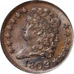 1809/6 Classic Head Half Cent. C-5. Rarity-1. 9/Inverted 9. MS-65 BN (PCGS). CAC. OGH.