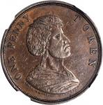 NEW ZEALAND. Auckland. Edward Waters. Penny Token, ND (ca. 1873). NGC AU-55 BN.