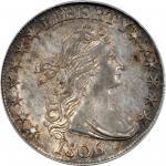 1806 Draped Bust Half Dollar. O-109, T-15. Rarity-1. Pointed 6, Stem Not Through Claw. AU-58 (PCGS).