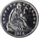 1852 Pattern Liberty Seated Silver Dollar. Judd-134, Pollock-161. Rarity-7+. Silver-Plated Copper. R