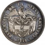 COLOMBIA. 1849 pattern 10 Reales. Bogotá mint. Restrepo P66. Silver. SP-62 (PCGS).