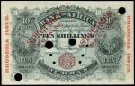 Bank of Africa, Rhodesia, a specimen 10 shillings, Durban, ND (1901), pale blue, map of Africa at le