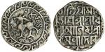 Tripura, Dhanya Manikya (1490-1526), Tanka, 10.20, Sk.1435, victory issue, citing Queen Kamala, lion