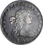 1799 Draped Bust Silver Dollar. BB-164, B-17. Rarity-2. VF Details--Tooled (PCGS).