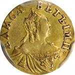RUSSIA. Poltina, 1756. Elizabeth. PCGS AU-50 Gold Shield.