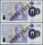 Bank of England, Sarah John, polymer £20, ND (20 February 2020), serial number AA01 000047/48, purpl