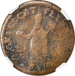 Undated (Circa 1663-1672) St. Patrick Farthing. Breen-211, W-11500. Copper. Sea Beasts Below King. V