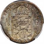 1908年荷属东印度1/10盾。NETHERLANDS EAST INDIES. 1/10 Gulden, 1908. PCGS MS-64 Gold Shield.