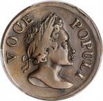 1760 Voce Populi Halfpenny. Nelson-3, W-13930. Rarity-3. VOOE POPULI. EF-45 (PCGS).