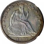 1882 Liberty Seated Half Dollar. WB-102. Misplaced Date. Proof-64 (NGC).