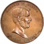 1865 Abraham Lincoln North Western Sanitary Fair Medal. Bronzed Copper. 57.5 mm. By Anthony C. Paque