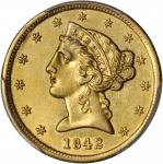 1842 Liberty Half Eagle. Small Letters. AU Details--Tooled (PCGS).