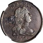1806 Draped Bust Half Cent. C-2. Rarity-4. Small 6, Stems to Wreath. AU-53 BN (NGC).