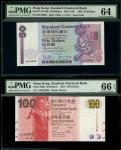 渣打银行1992年50元及2010年100元一对,编号H519996 及 AK222999,分别评PMG 64及66EPQ