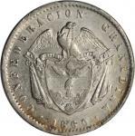 COLOMBIA. 1860 Peso. Bogotá mint. Restrepo 226.4. AU-50 (PCGS).