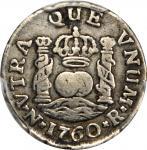 1760年哥伦比亚1/2雷亚尔 PCGS VF 30