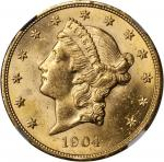 1904 Liberty Head Double Eagle. MS-63 (NGC).