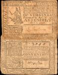 Lot of (2) Virginia Colonial Currency Notes. VA-75 & VA-103. Fine to Very Fine.