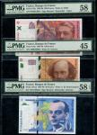 Banque de France, 50, 100, 500 (1995-99), (Pick 157Ad, 158a, 159a), in PMG holder 58EPQ Choice About