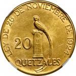 GUATEMALA. 20 Quetzales, 1926. Philadelphia Mint. NGC MS-61.