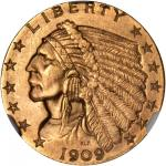 1909 Indian Quarter Eagle. MS-64+ (NGC).