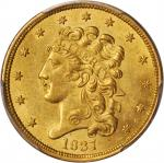 1837 Classic Head Half Eagle. McCloskey-2. Large Date, Large 5. MS-62 (PCGS).