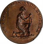 Great Britain--Middlesex. Undated (1790s) Am I Not a Man and a Brother Halfpenny Token. D&H-1038b. C