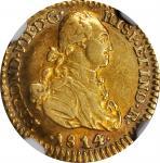 COLOMBIA. Escudo, 1814-NR JF. Cartagena Mint. Ferdinand VII. NGC AU-53.