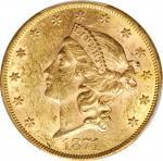 1871 Liberty Head Double Eagle. AU-58 (PCGS).