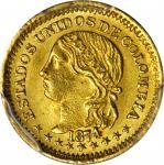 COLOMBIA. 1874 Peso. Bogotá mint. Restrepo 322.4. MS-62 (PCGS).