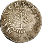 1652 Pine Tree Shilling. Small Planchet. Noe-20, Salmon 6-B, W-860. Rarity-7. Fine Details--Repaired