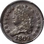 1809 Classic Head Half Cent. C-4. Rarity-2. Small o Inside 0. AU-55 (PCGS).