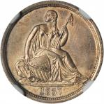 1837 Liberty Seated Dime. No Stars. Fortin-101a. Rarity-2. Large Date. Repunched Date. MS-64 (NGC).