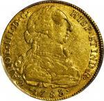 COLOMBIA. 8 Escudos, 1783-NR JJ. Santa Fe de Nuevo Reino (Bogota) Mint. Charles III (1759-88). PCGS
