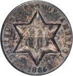1865 Silver Three-Cent Piece. MS-64 (ANACS). OH.