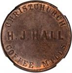 NEW ZEALAND. Christchurch. Henry J. Hall. Penny Token, ND (ca. 1864-65). NGC Unc Details--Altered Co