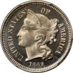 1869 Nickel Three-Cent Piece. Proof-67 Deep Cameo (PCGS).