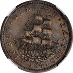 1841 Daniel Webster. HT-20A, Low-62A, DeWitt-CE 1838-12, W-11-630f. Rarity-7. Silver. Plain Edge. MS