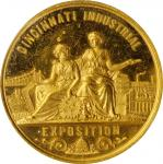 1881 Cincinnati Industrial Exhibition Award medal. Gold. 44.5 mm. 52.3 grams. Harkness Oh-25. SP-60