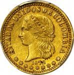 COLOMBIA. 1872 2 Pesos. Medellín mint. Restrepo 326.3. AU-58 (PCGS).