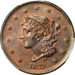 1839 Modified Matron Head Cent. N-13. Rarity-2. Booby Head. MS-65+ RB (PCGS). CAC.