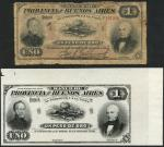 x Banco de Provincia de Buenos Aires, black & white proof for a 1 Peso, 1 January 1883, no serial nu