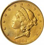 1863-S Liberty Head Double Eagle. AU-58+ (PCGS).