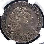 GREAT BRITAIN William&Mary ウィリアム&メアリー(1688~94) Crown 1692 NGC-AU55 EF