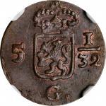 1809年荷兰巴达维亚共和国1/2Duit。NETHERLANDS EAST INDIES. Batavian Republic. 1/2 Duit, 1809. NGC MS-64 Brown.