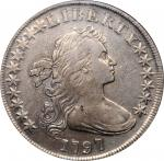 1797 Draped Bust Silver Dollar. BB-71, B-3. Rarity-2. Stars 10x6. EF-40 (NGC).