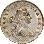 1805 Draped Bust Half Dollar. O-111, T-3. Rarity-2. AU-55 (NGC).