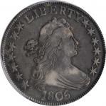 1806 Draped Bust Half Dollar. O-115, T-17. Rarity-1. Pointed 6, Stem Through Claw. VF-25 (PCGS). CAC