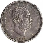 1883 Hawaii Half Dollar. Medcalf-Russell 2CS-4. EF-45 (PCGS). Secure Holder.